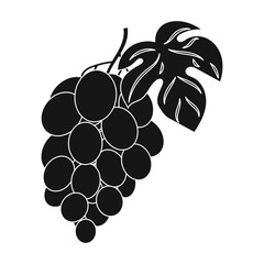 Bunch of grapes icon in black style isolated on white background. Wine production symbol stock vector illustration.