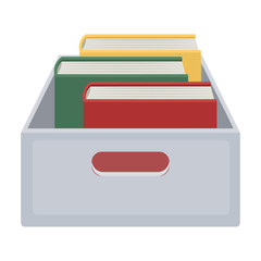 Books in box icon in cartoon style isolated on white background. Library and bookstore symbol stock vector illustration.