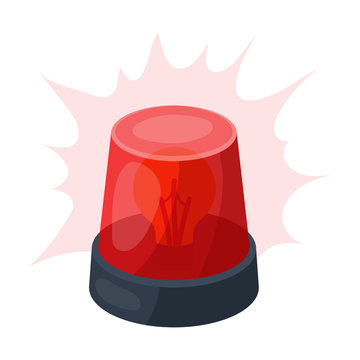 Emergency rotating beacon light icon in cartoon style isolated on white background. Police symbol stock vector illustration.