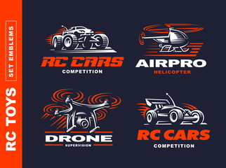 RC toys transport logo set - vector illustration, emblem design on black background