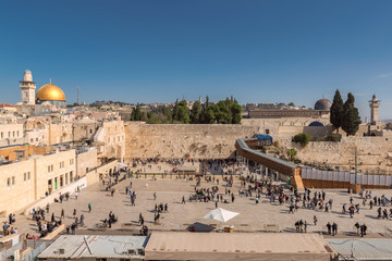 Temple Mount in the old city of Jerusalem, including the Western Wall and Dome of the Rock.