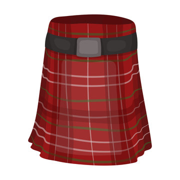 Kilt icon in cartoon style isolated on white background. Scotland country symbol stock vector illustration.