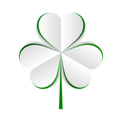 vector paper green shamrock on white background