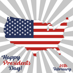 Presidents Day. USA map with flag inside
