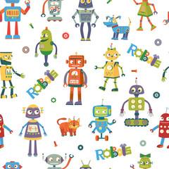 Vector robots. Cartoon seamless pattern