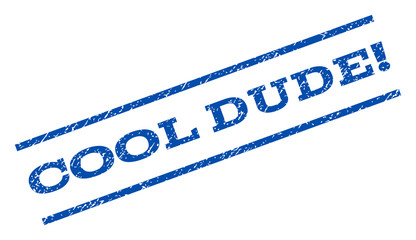 Cool Dude! watermark stamp. Text tag between parallel lines with grunge design style. Rotated rubber seal stamp with dirty texture. Vector blue ink imprint on a white background.