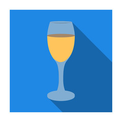 Glass of white wine icon in flat style isolated on white background. Wine production symbol stock vector illustration.