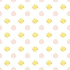 Gold polka dots seamless pattern.