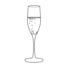 Glass of champagne icon in outline style isolated on white background. Wine production symbol stock vector illustration.
