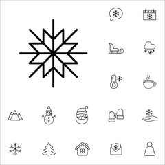 snowflake snow winter cold vector line icons set