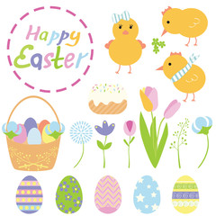 Easter set. Cute colorful illystration.