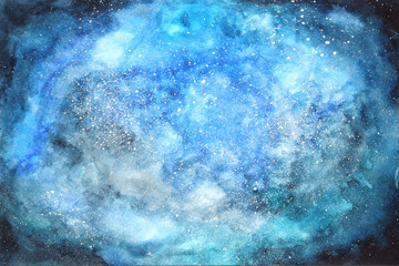 Watercolor space background. Hand drown illustration.