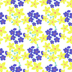 Floral seamless pattern in blue and yellow colors.