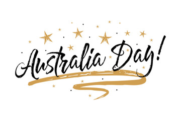 Australia Day banner.Beautiful greeting scratched calligraphy black text word gold stars.Hand drawn invitation T-shirt print design. Handwritten modern brush lettering white background isolated vector