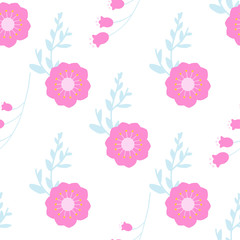 Seamless floral pattern. Simple scandi style. Vector illustration.