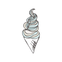 Twisted ice cream cone. Stylized dessert. Vector illustration. Sweet dessert background