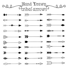 Hand drawn tribal arrows set. Vector illustration.