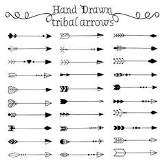 Hand drawn tribal arrows set. Vector illustration.