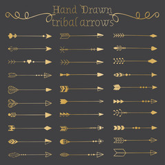 Hand drawn arrows set.