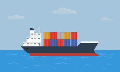 Cargo container ship transports containers at the blue ocean.