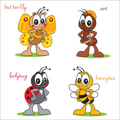 Funny Cartoon Characters Insects. Beautiful Butterfly. Ant Build. Cute Ladybug. Sweet Bee. Vector On A White Background. Beautiful Insects.