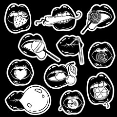 Set Of Female Lips Stickers and food In Pop Comic Style.