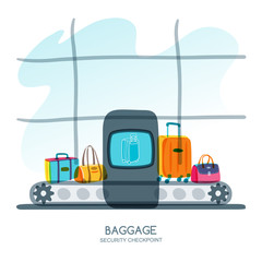 Baggage security checkpoint in airport terminal. Vector hand drawn illustration. Luggage, suitcase, bags on scanner conveyor belt. Luggage check, airport security, travel and tourism concept.