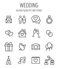 Set of wedding icons in modern thin line style.