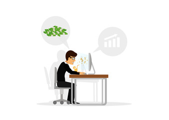 Businessman sitting at table and money