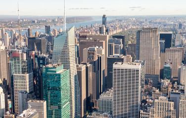 NEW YORK CITY - OCTOBER 23, 2015: Aerial view of Midtown Manhatt