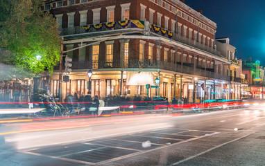 New Orleans street lights on Mardi Gras night