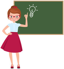 Cartoon character vector teacher standing at the blackboard