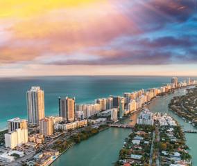Wall Mural - Aerial view of Miami Beach skyline, Florida