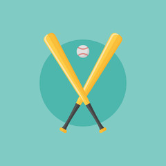 Baseball emblem with bats and ball. Flat style vector illustration.