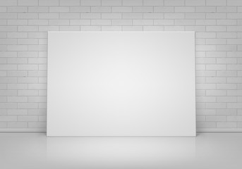 Vector Empty Blank White Mock Up Poster Picture Frame Standing on Floor with Brick Wall Front View
