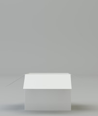 Open the white box on a gray background. 3d rendering
