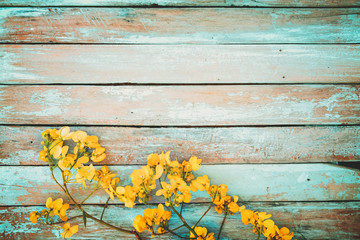 Yellow Flowers On Vintage Wooden Background Border Design