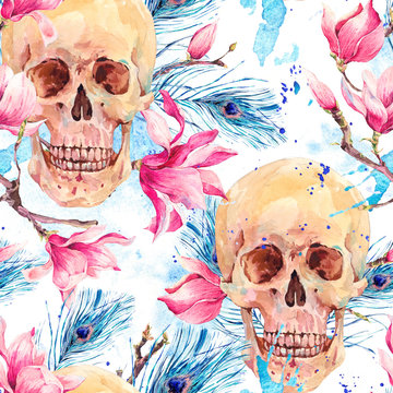 Watercolor seamless pattern with skull and Magnolia