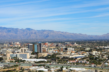 Aerial view of the city of Tucson, Arizona