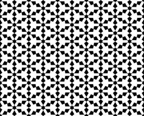 Abstract seamless geometric black & white oriental pattern