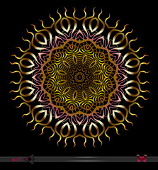 Flover vector Mandala on black background. Decorative Colorfull insulated