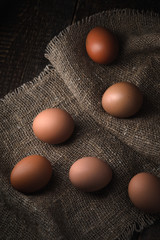 Chicken eggs on the canvas vertical