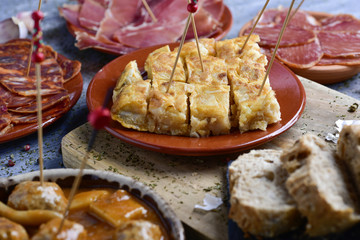 assortment of spanish cold meats and tapas