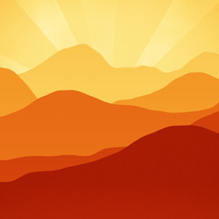 Orange Rust Brown Sunset Mountains hills Peaks Digital Illustration.