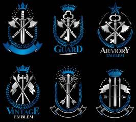Vintage Weapon Emblems set. Vintage vector design elements colle