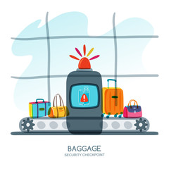 Baggage security checkpoint in airport terminal. Red alarm siren on scanner warns of dangerous baggage. Vector hand drawn illustration. Luggage check, airport security concept.