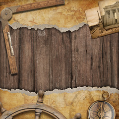 Old map background with compass. Adventure and travel concept.