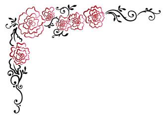 Filigrane Ranke mit roten Rosen und Blättern. Liebe.