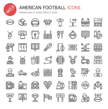 American Football Elements , Thin Line and Pixel Perfect Icons