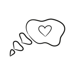 Bubble icon with heart on the white background for your design.